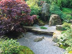 Japanese Garden: Japanese gardens incorporate a balance of hard elements, like rocks and gravel, with organic elements, like tightly clipped shrubs and trees. From HGTV.com's Garden Galleries