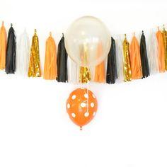 Tissue Tassel Halloween Garland Black Orange Gold White
