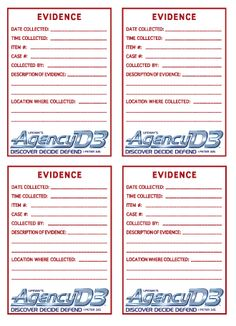 Evidence stickers - postcard size