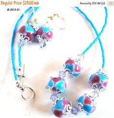 On Sale Teal and Pink Dot Necklace and by polymerclaybeads on Etsy