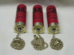 3 Shotgun Shell Ceiling Fan Light Pull Winchester AA 12 Gauge Red