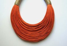 Happy Orange fiber Statement Necklace by superlittlecute on Etsy, $53.00