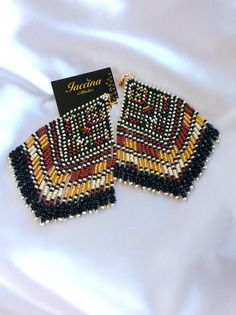 Aztec Earrings, Fringe Earrings, Bead Earrings, Native Style, Brick Stitch, Experiment, Beaded Jewelry, Jewlery, Beading