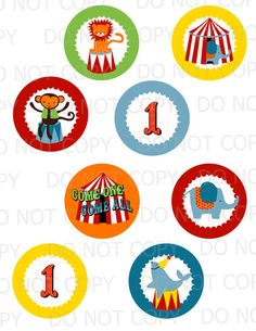 Printable DIY Circus Theme Cupcake Toppers by onelovedesignsllc