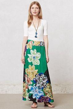 New Anthropologie Womens Green Floral Cimiez Maxi Skirt By Leifsdottir Size XS…