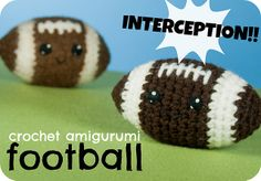 Crochet Amigurumi Football Free Pattern here: http://blog.craftyalien.com/patterns/free/crochet-amigurumi-football-pattern/