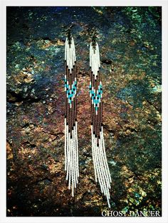 Ghost Dancer Blue Sky Hand Beaded 11 1/2 Long Seed Bead Fringe Earrings via Etsy
