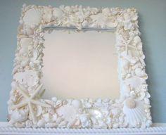 Beach Decor Seashell Mirror -  Nautical Decor Shell Mirror, All White w Starfish & Pearls. $295.00, via Etsy.