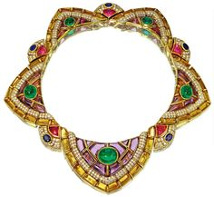 COLOURED STONE AND DIAMOND NECKLACE, BULGARI    The collar of stylised swag design, decorated with lines of calibré-cut buff-top citrines, pavé-set brilliant-cut diamonds and calibré-cut amethysts, to the collet-set cabochon emerald highlights, interspersed by fan-shaped elements set with cabochon pink tourmalines and oval sapphires, mounted in yellow gold,    signed Bulgari and numbered, maker's marks, brown leather pochette stamped Bulgari, Roma, New york.