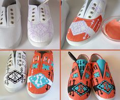 Painting Shoes With Acrylic Paint | make your own? You will need: fabric paint in two colors (or acrylic ...