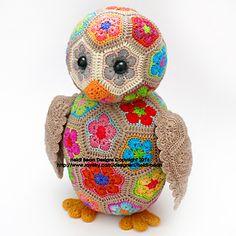 Ravelry: Aloysius the African Flower Owlet Crochet Pattern by Heidi Bears Crochet Motif Patterns, Crochet Stitches, Flower Patterns, Hexagon Crochet, Hexagon Pattern, Free Pattern, Crochet Owls, Crochet Animals, Knit Crochet