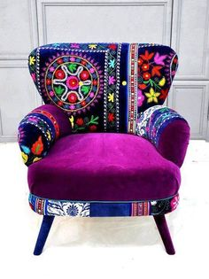 Patchwork armchair with Suzani fabrics from name design studio.