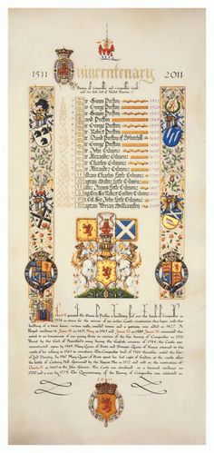 Illuminated panel on vellum depicting the Quicentenary of Craigmiller Castle and the Barony of Craigmiller - Neil Bromley