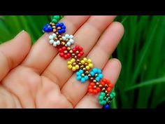 How To Make//Flower Bracelet//Beads Jewelry// Useful & Easy - YouTube Shell Bracelet, Seed Bead Bracelets, Flower Bracelet, Seed Bead Jewelry, Beaded Jewelry, Beaded Brooch, Beaded Earrings, How To Make Rings, Diy Crafts Jewelry