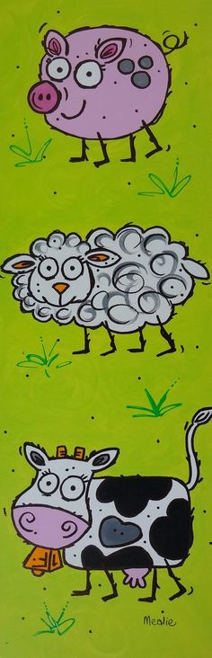 sweet picture for baby's nursery - pig, sheep and cow - by The Mealie Collection NZ$95