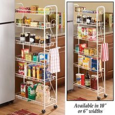 Slim Rolling Pantry Shelf, White Metal with Elegant Scroll Design Accent - Extra Kitchen and Bathroom Storage, 10 Kitchen Organization Pantry, Diy Kitchen Storage, Pantry Storage, Home Decor Kitchen, Kitchen Hacks, Bathroom Storage, Kitchen Furniture, Medicine Organization, Storage Rack