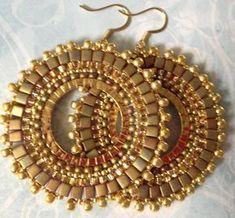 beadwork hoop earrings golden goddess seed bead by Seed Bead Jewelry, Seed Bead Earrings, Circle Earrings, Beaded Earrings, Beaded Jewelry, Handmade Jewelry, Hoop Earrings, Schmuck Design, Gold Beads