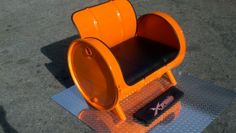 55 gallon drum chair Powder coated leather upholstery Built by Xtreme Metal Works