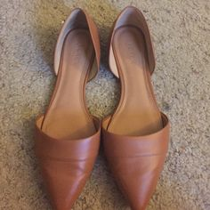 J. Crew brown d'orsay flats Brown leather flats. Work once J. Crew Shoes Flats & Loafers
