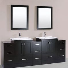 "PacificCollection Redondo 84"" Double Modern Bathroom 3 Side Cabinets Vanity Set with Mirror - http://bathroomvanitiespot.com/pacificcollection-redondo-84-double-modern-bathroom-3-side-cabinets-vanity-set-with-mirror-653767251/"