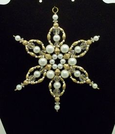 Snowflake Ornament - White Pearl and Antique Gold