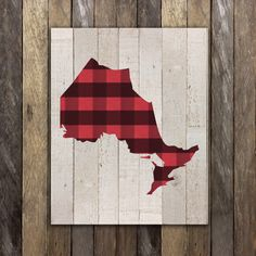Ontario Map Print Decor - Canadian Toronto Map Art Print  - Rustic Home Cottage Country Decor  Buffalo Plaid Hamilton Ottawa London Kingston