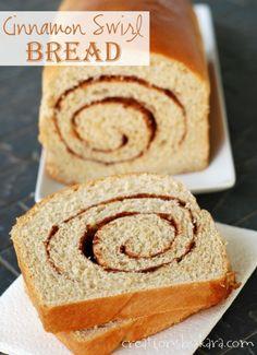 Soft, tender, and delicious Cinnamon Swirl Bread from creationsbykara.com. Perfect for fall baking!  #recipe #cinnamon #bread