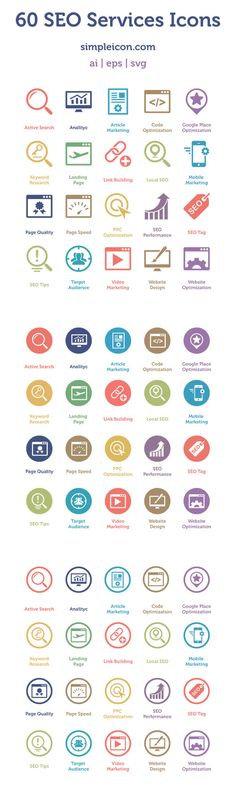 SEO Services Icons: useful set of flat icons that includes 60 different icons Mobile Design, App Design, Icon Design, Logo Design, Flat Design, Wireframe, L Icon, Icon Ui, Palette Design