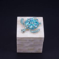 Mother of Pearl Ring Box Featuring Swarovski © Crystals and Aquamarine Sea Turtle