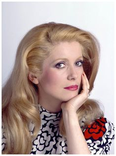 Catherine Deneuve in YSL and photographed by Douglas Kirkland for French ELLE, in 1980