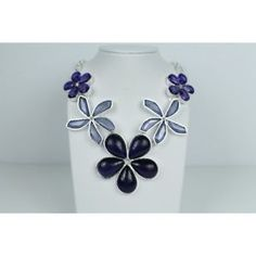 Amethyst Topaz & Purple Agate Flower Statement Necklace ~ Indian Silver $22.95 Silver Jewellery Indian, Silver Jewelry, Flower Necklace, Necklace Set, Purple Agate, Amethyst Stone, Topaz, Silver Plate, Fashion Jewelry