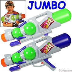 JUMBO XY-1500 PUMP WATER GUNS. The more you pump, the farther the water shoots. With removable water tanks, these will win the water wars every time. Assorted colors. Each polybagged with header.  Size 24 Inches