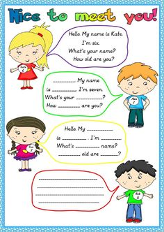 Nice to meet you Language: Grade/level: Elementary School subject: English as a Second Language (ESL) Main content: Introducing yourself Other contents: verb English Activities For Kids, Learning English For Kids, English Lessons For Kids, Kids English, Learn English Words, English Teaching Materials, Teaching English, Primary English, English Worksheets For Kids