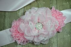 Pink Flower Girl Sash Maternity sash Basket by AnniesChicBowtique