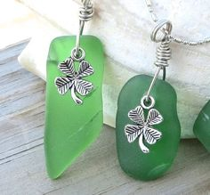 Irish Clover  Green Sea Glass Necklace Irish by WaveofLife on Etsy, $18.00