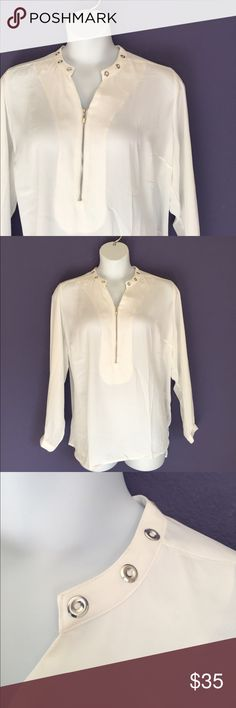 "🆕 NY Collection White Blouse NWOT - The beautiful and delicate white Blouse is the perfect staple for your closet.  Pair with anything.  Roll of the sleeves if you prefer.  The neckline has gold circles to add some flare.  Measurements (Flat):  Length - 28.5""/Bust - 27""/Waist - 26"" NY Collection Tops Blouses"
