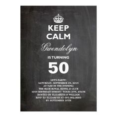 Gold foil 50th surprise birthday party invite custom invite chalkboard keep calm funny 50th birthday party card stopboris Gallery