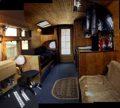 Love the woodwork in this school bus conversion. 1946 Cheverolet bus