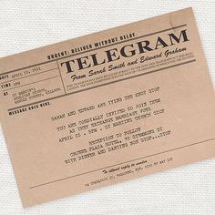 vintage telegram invitation - printable file - antique rustic wedding invitation 1920s 1930s on Etsy, $30.00
