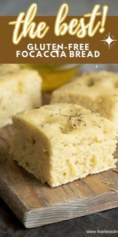 This is the easiest gluten free focaccia bread recipe you will ever make. Top it with olive oil, fresh herbs, and your favorite toppings. Dip in herb oil or use it to make a thick pizza crust! Easy directions. www.fearlessdining.com Gluten Free Focaccia Bread Recipe, Best Gluten Free Bread, Gluten Free Recipes, Bread Recipes, Diet Recipes, Bread Recipe Video, Skillet Bread, Fresh Herbs, Vegan Desserts