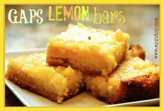 Sweet and tangy lemon bars made with honey, almond flour, and organic lemon juice. A simple healthy treat.