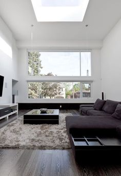 15 A Laconic Modern Living Room Accentuated With Dark Floors And Furniture And A Fluffy Rug