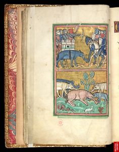 Knights in a castle atop an elephant repelling mounted assailants and a little elephant coming to the aid of a fallen elephant, South-eastern England (possibly Rochester), c. 1230. MS. Royal 12 F. xiii, f. 11v