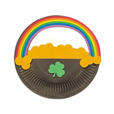 Paper Plate Pot Of Gold Rainbow Craft Kit - OrientalTrading.com... craft to do with lilys class when she is star of the week. excited!