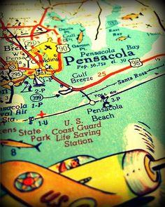 BOGO Sale vintage map PENSACOLA BEACH retro by VintageBeachMaps