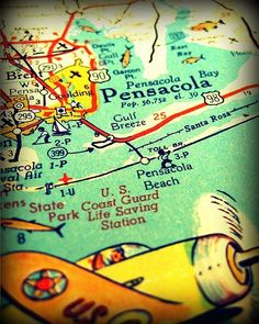 pensacola florida vintage map