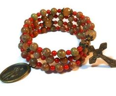 Rosary bracelet Autumn leaves five decade by maggiescornerstore