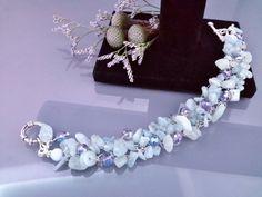 Natural Gemstone Aquamarine Beads Bracelet, Wire Work Bracelet, Gift fer Her, Crochet Wire Bracelet