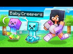 We ADOPTED Baby Creepers In Minecraft! - YouTube Cool Minecraft Houses, Minecraft Pixel Art, Creeper Minecraft, Minecraft Skins, Minecraft Buildings, Youtube Minecraft Videos, Diy Pokemon Cards, Aphmau Youtube, Aphmau Characters