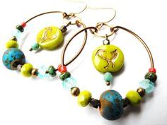 Hoop Earrings, Beaded Hoops, Brass Hoop Earrings, Beaded Earrings, Bird Earrings, Colorful Beads, Gypsy Earrings, Beadwork, Boho Jewelry